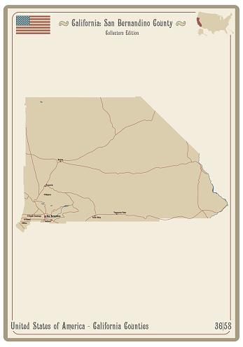 Map of San Bernardino County in California