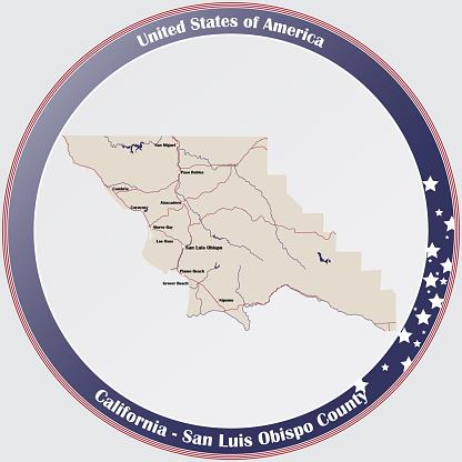 Map of San Luis Obispo County in California