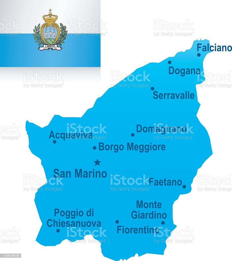 Map of San Marino - cities and flag royalty-free stock vector art