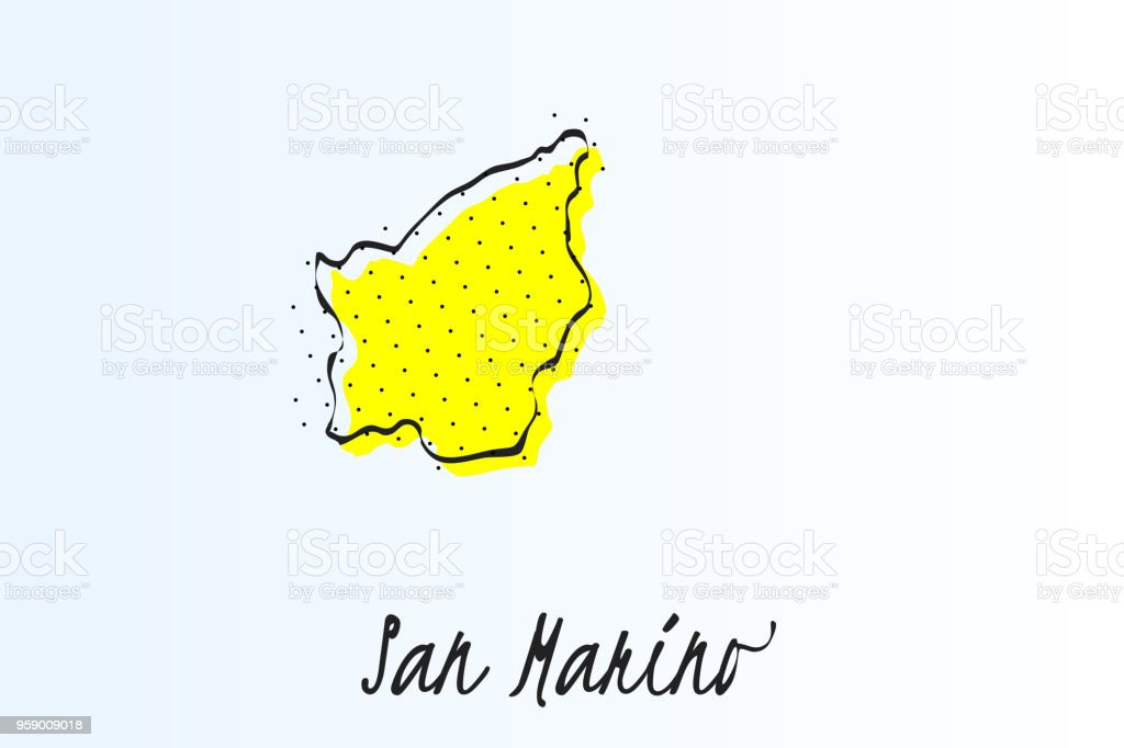 Map of San Marino, halftone abstract background. drawn border line and yellow color vector art illustration
