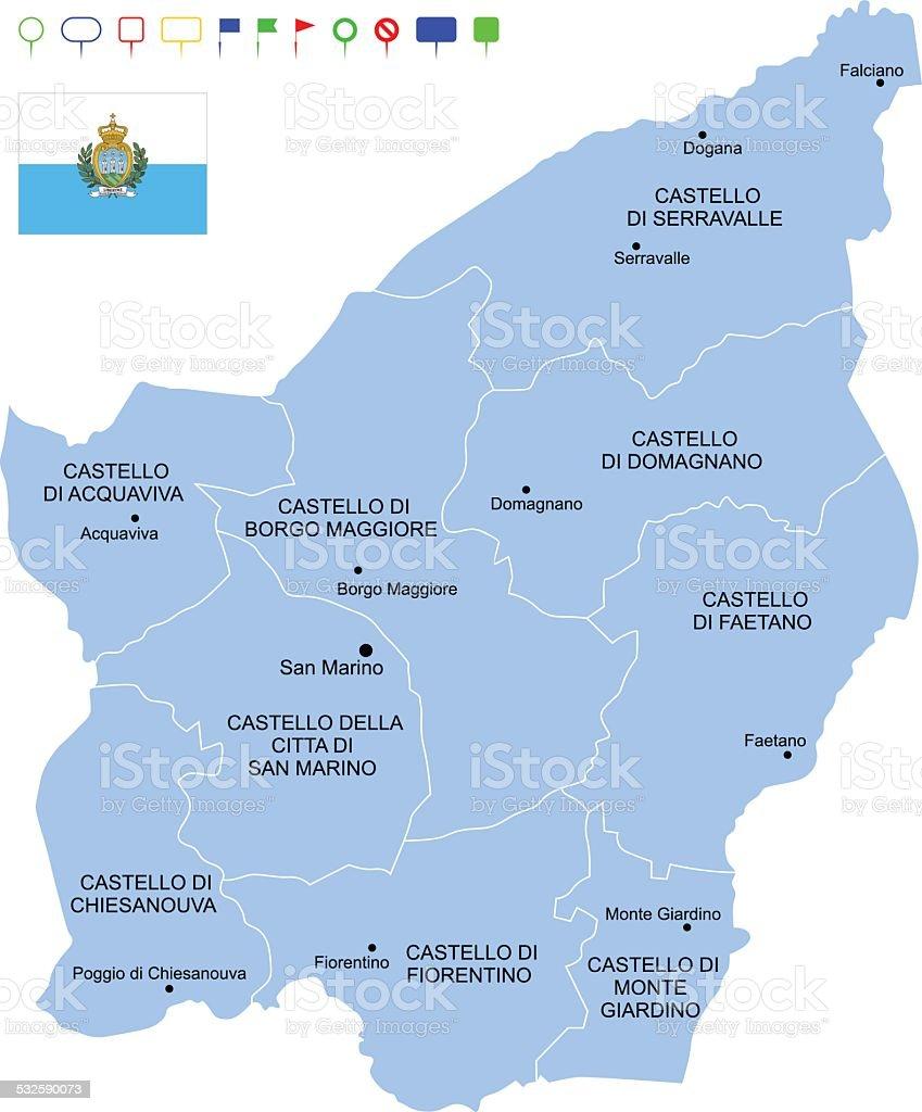 Map of San Marino vector art illustration