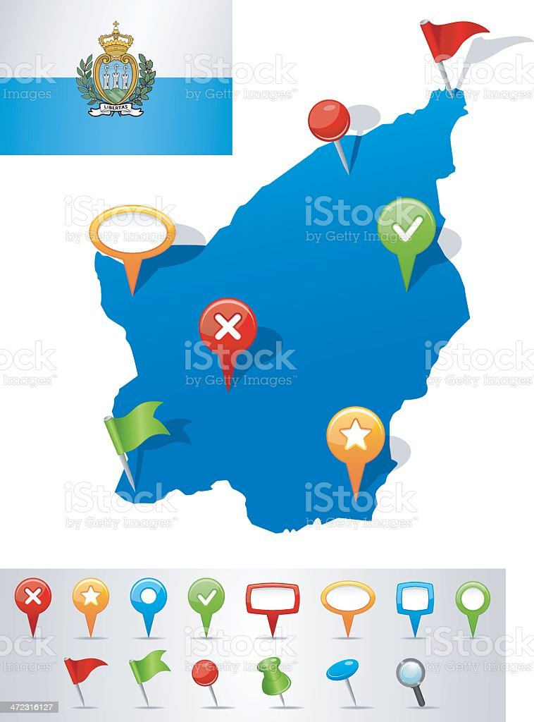 Map of San Marino with navigation icons royalty-free stock vector art