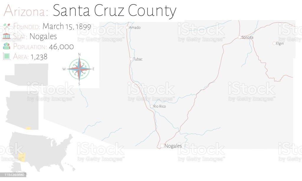 Map Of Elgin Arizona.Map Of Santa Cruz County In Arizona Stock Illustration Download