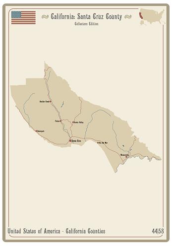 Map of Santa Cruz County in California