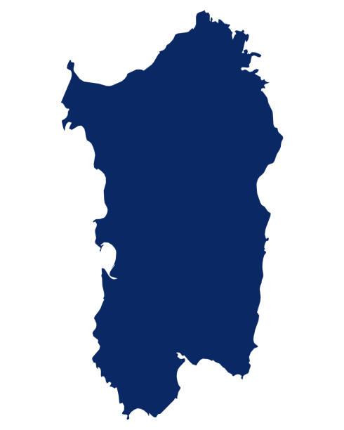 illustrazioni stock, clip art, cartoni animati e icone di tendenza di mappa della sardegna in colore blu - sardegna