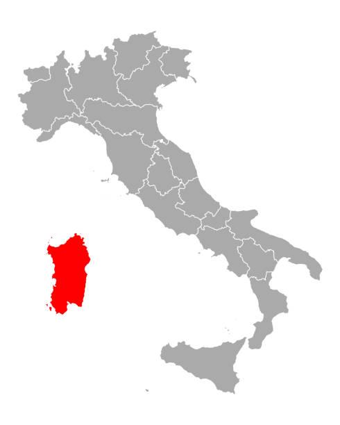 illustrazioni stock, clip art, cartoni animati e icone di tendenza di mappa della sardegna in italia - sardegna