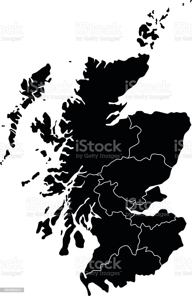 Map of Scotland vector art illustration