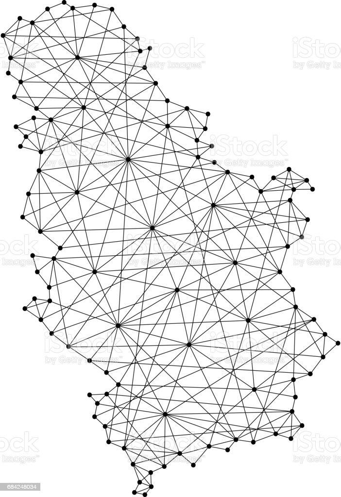 Carte de la Serbie de lignes noires polygonales et points d'illustration vectorielle carte de la serbie de lignes noires polygonales et points dillustration vectorielle – cliparts vectoriels et plus d'images de a la mode libre de droits