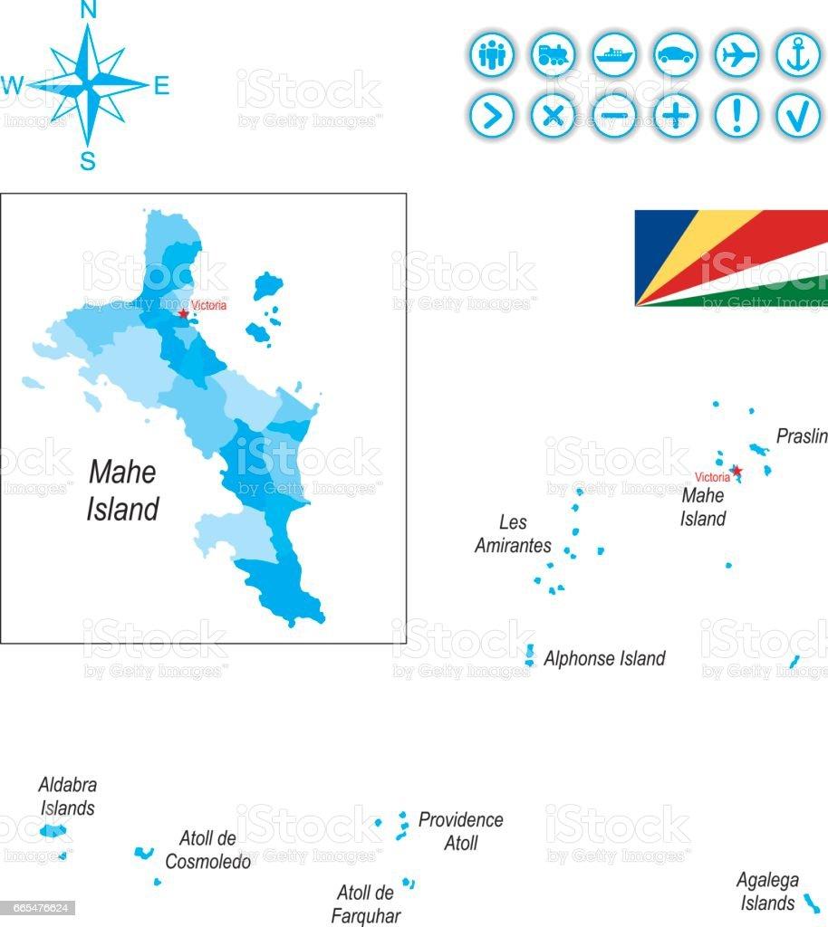 Karte Seychellen.Karte Der Seychellen Mit Fahne Symbole Und Schlussel Stock