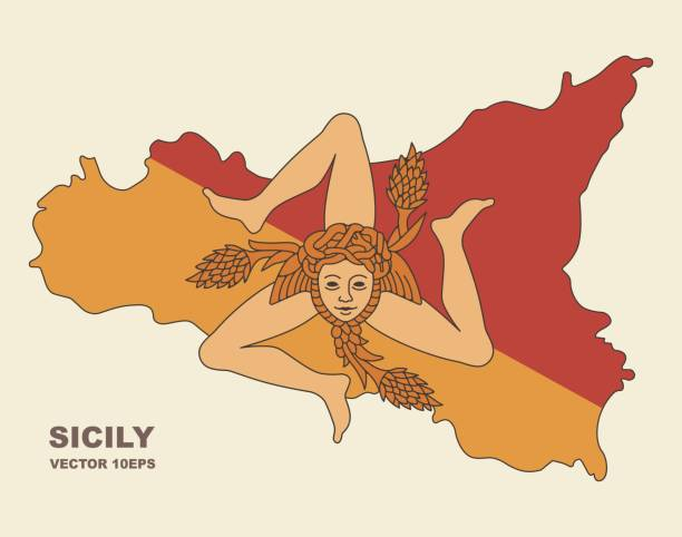 map of sicily in sicily flag colors - sicily stock illustrations