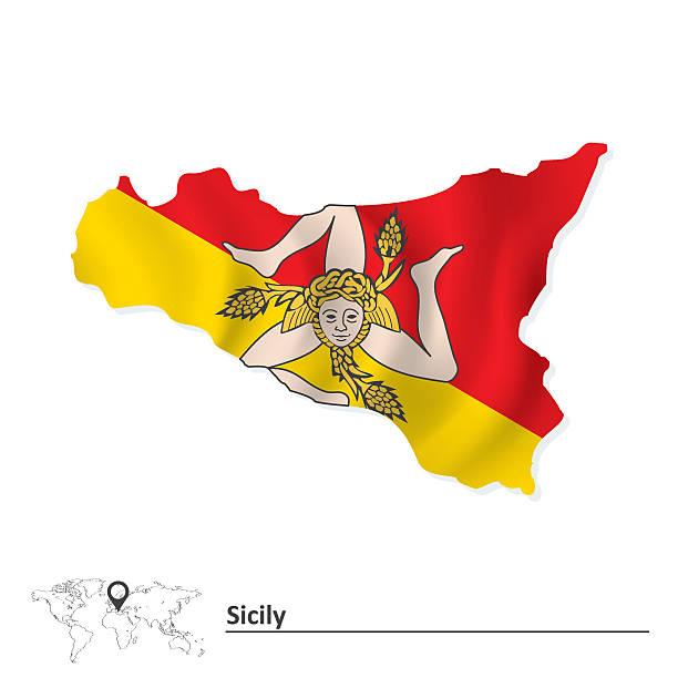 mapa sycylia z flagą - sicily stock illustrations
