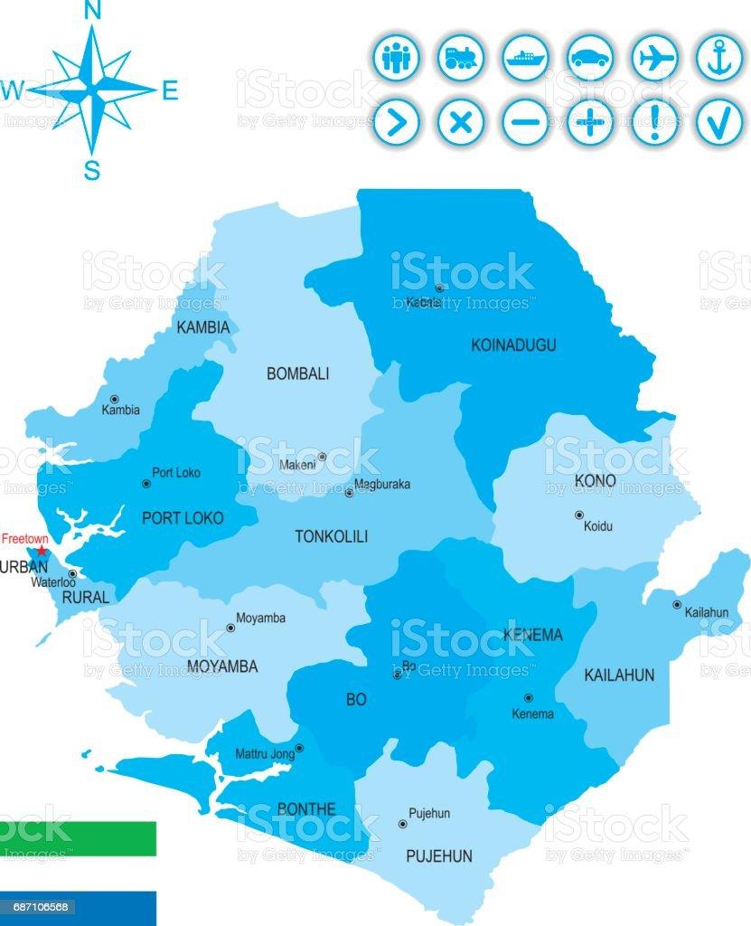 Karte von Sierra Leone mit Fahne, Symbole und Schlüssel Lizenzfreies karte von sierra leone mit fahne symbole und schlüssel stock vektor art und mehr bilder von afrika