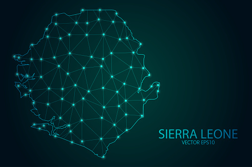 Map of Sierra Leone - With glowing point and lines scales on The Dark Gradient Background, 3D mesh polygonal network connections