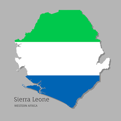 Map of Sierra Leone with national flag