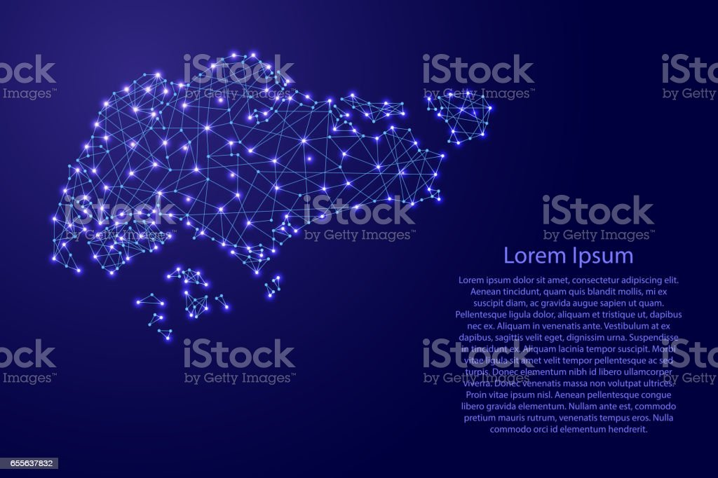 Map of Singapore from polygonal blue lines and glowing stars vector illustration vector art illustration