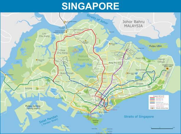 stockillustraties, clipart, cartoons en iconen met kaart van singapore metro en wegennet - singapore