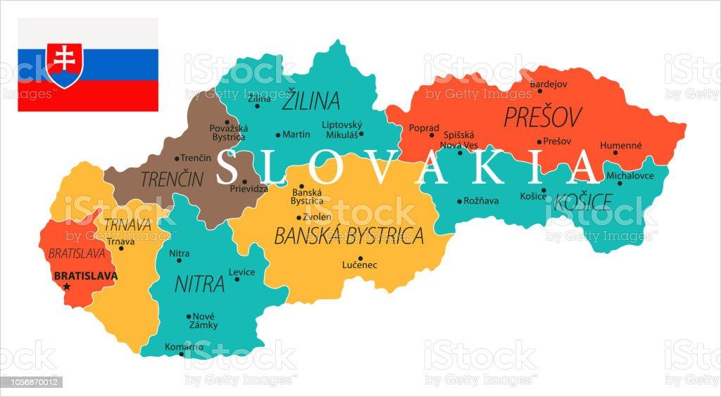 Map of Slovakia - Vector vector art illustration