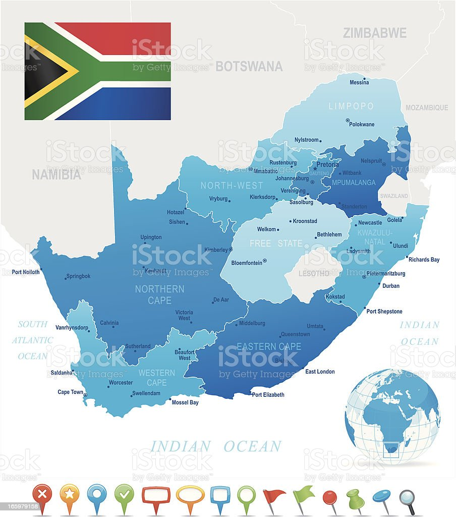Map of South Africa - states, cities, flag and icons vector art illustration