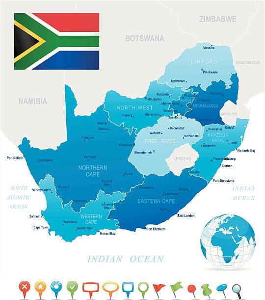 bildbanksillustrationer, clip art samt tecknat material och ikoner med map of south africa - states, cities, flag and icons - south africa