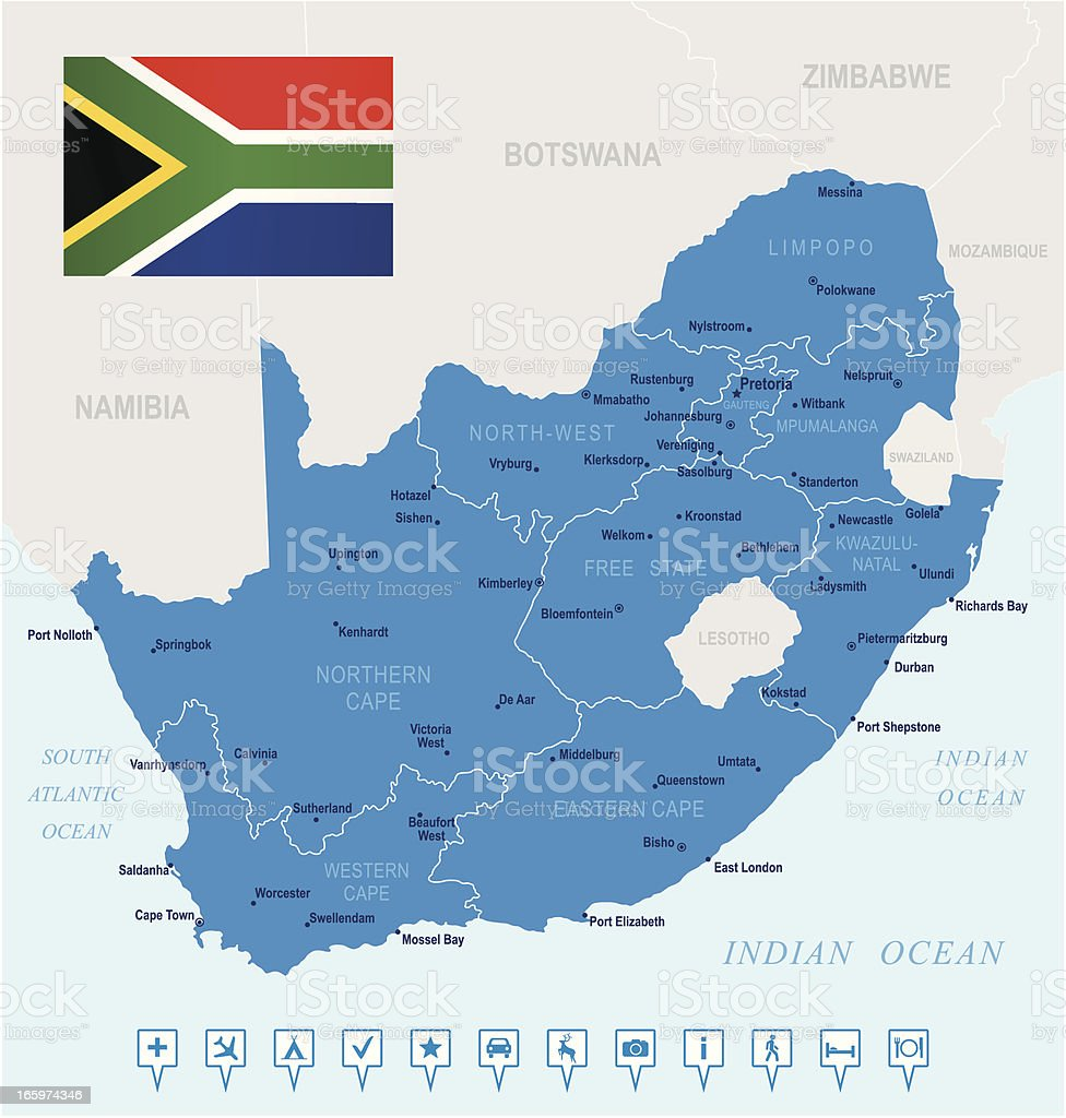 Map of South Africa - states, cities, flag, navigation icons vector art illustration
