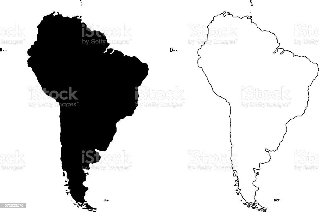Carte d'illustration vectorielle de l'Amérique du Sud, - Illustration vectorielle