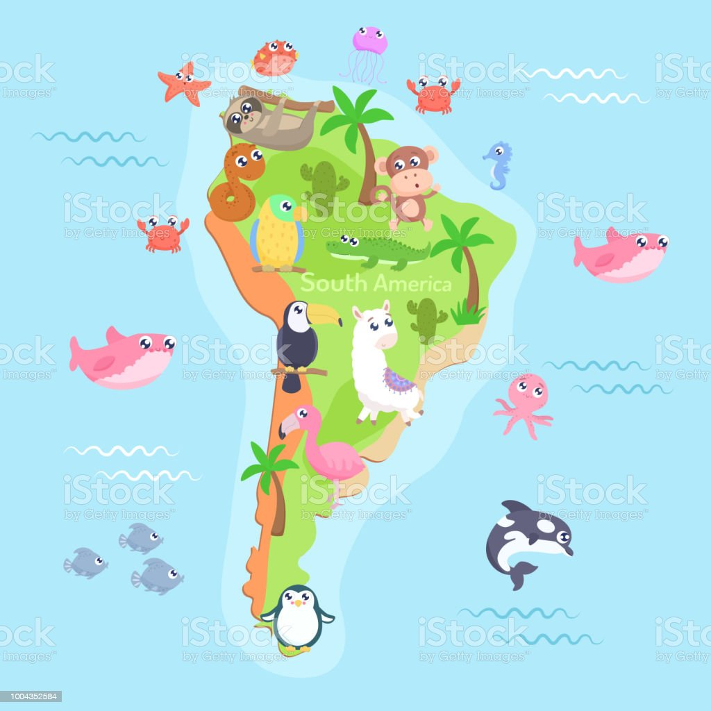Map Of South America With Cartoon Animals For Kids Stock ... Kids Map Of South America on map of argentina, map of nicaragua, map of aruba, map of belize, map of united states, map of paraguay, map of middle east, map of costa rica, map of guatemala, map of western hemisphere, map of the americas, map of dominican republic, map of bahamas, map of ecuador, map of caribbean, map of venezuela, map of honduras, map of guyana, map of bolivia, map of antarctica,