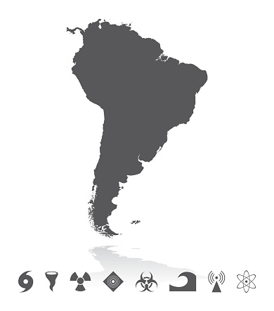 Map of South America with Disaster Icons Set