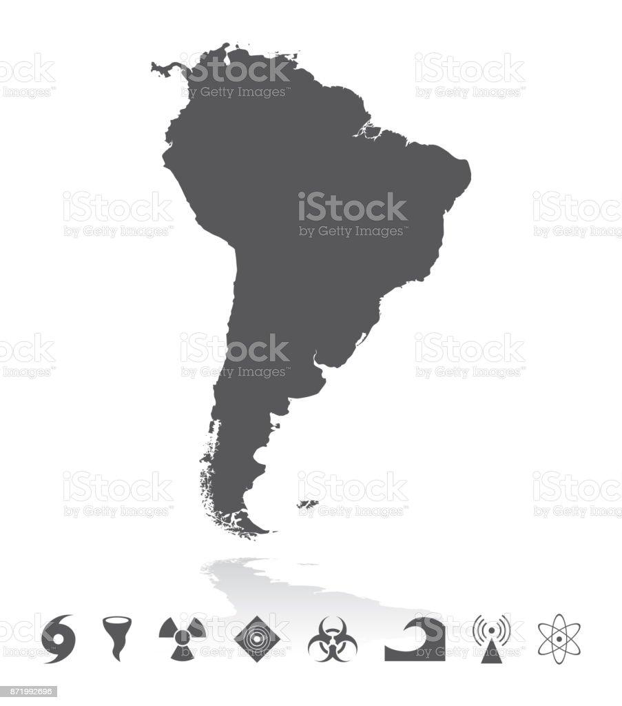 Karte von Südamerika mit Katastrophe Icons Set – Vektorgrafik