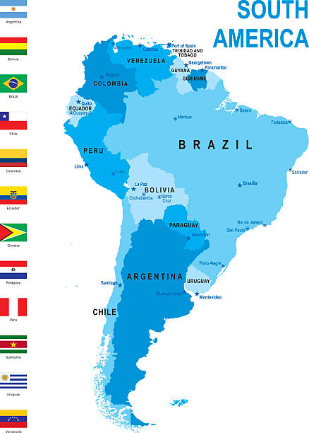 map of south america with flags against white background - südamerika landkarte stock-grafiken, -clipart, -cartoons und -symbole