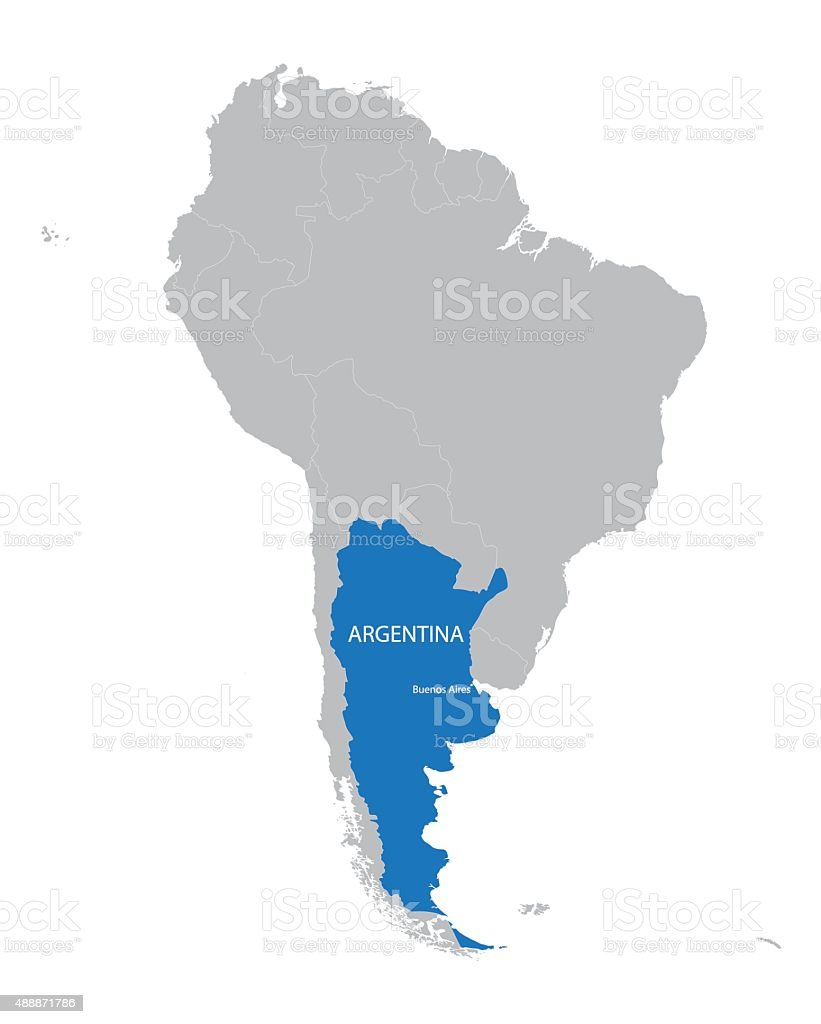 Map Of South America With Indication Of Argentina stock vector art