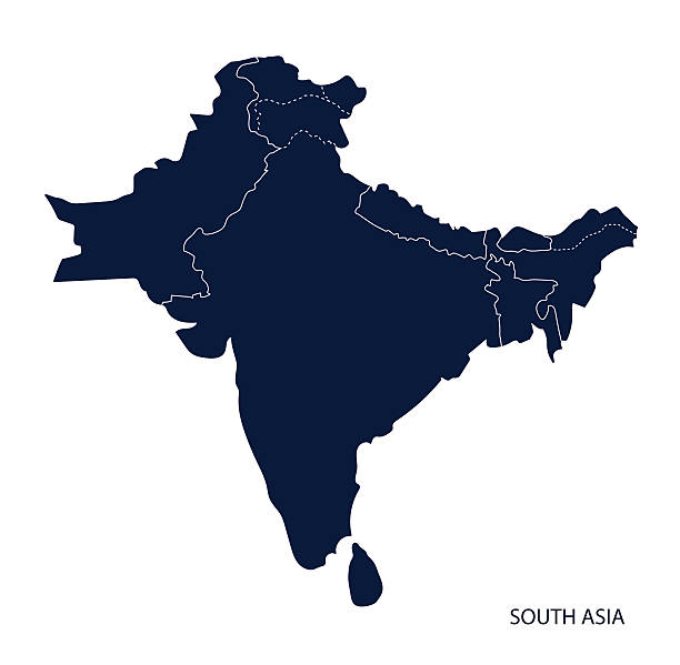 map of south asia. - 인도 인도아 대륙 stock illustrations