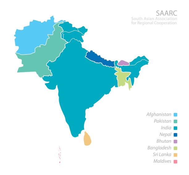 map of south asian association for regional cooperation (saarc) - 인도 인도아 대륙 stock illustrations