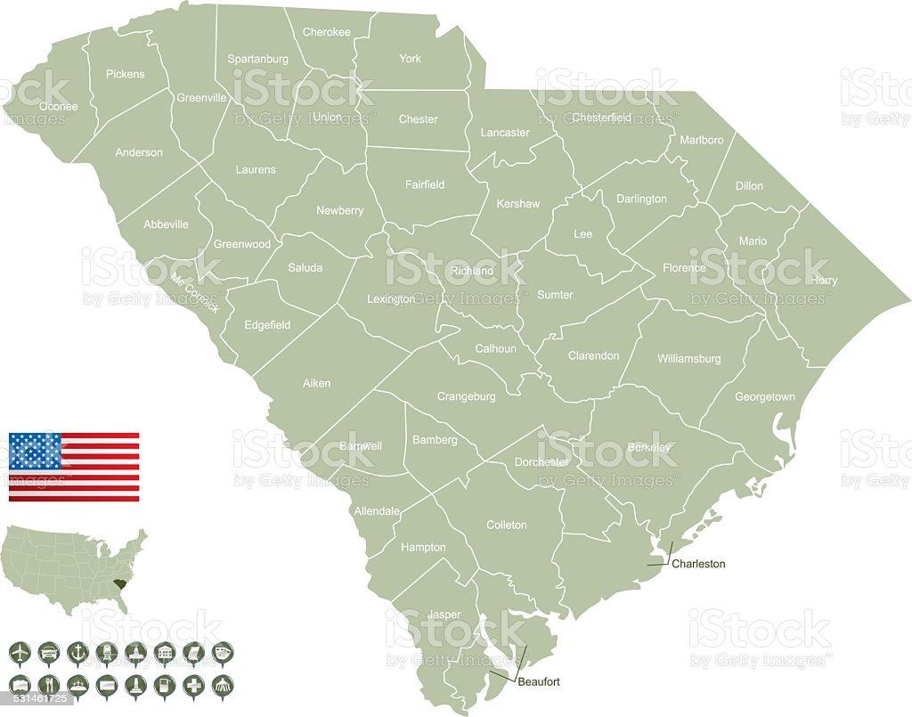 Map of South Carolina vector art illustration