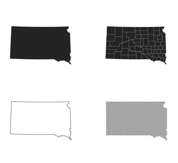 map of South Dakota – artystyczna grafika wektorowa