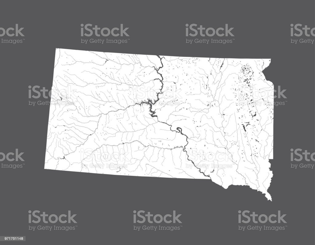 Map Of South Dakota With Lakes And Rivers Stock Vector Art & More ...