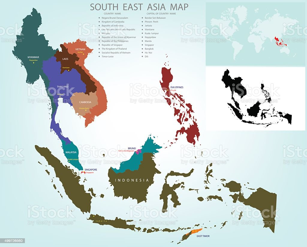 Map of South East Asia split color country vector art illustration