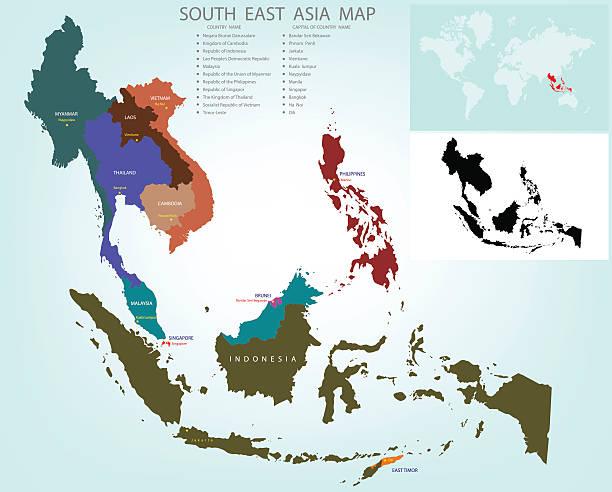 stockillustraties, clipart, cartoons en iconen met map of south east asia split color country - zuidoost azië