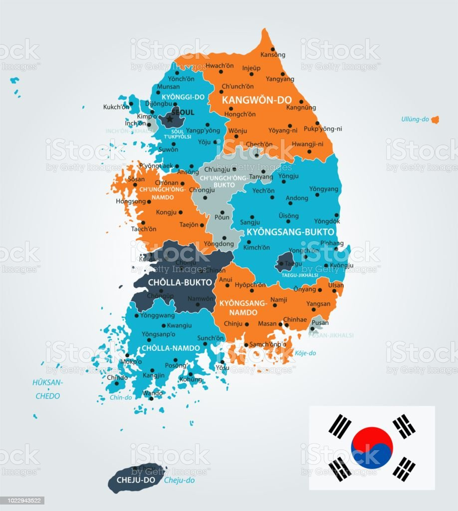 Ulsan Korea Map.Map Of South Korea Infographic Vector Stock Vector Art More Images