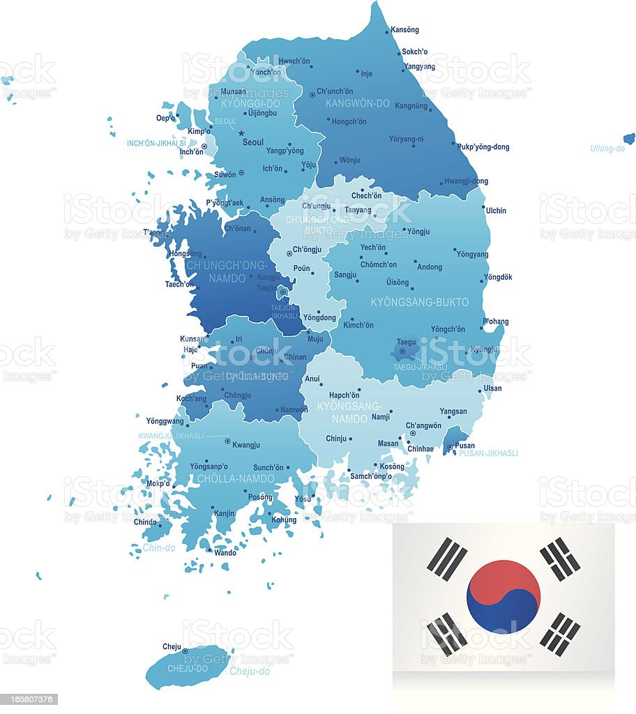 Map Of South Korea States Cities And Flag Stock Vector Art More