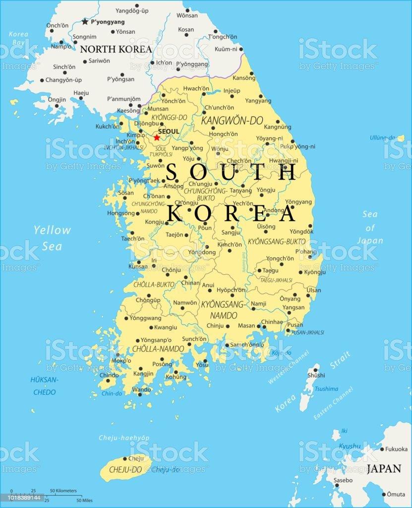 korea karte Karte Von South Korea Vektor Stock Vektor Art und mehr Bilder von