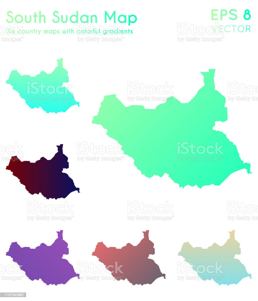 Carte Afrique Avec Soudan Du Sud.Carte Du Soudan Du Sud Avec De Beaux Degrades Vecteurs