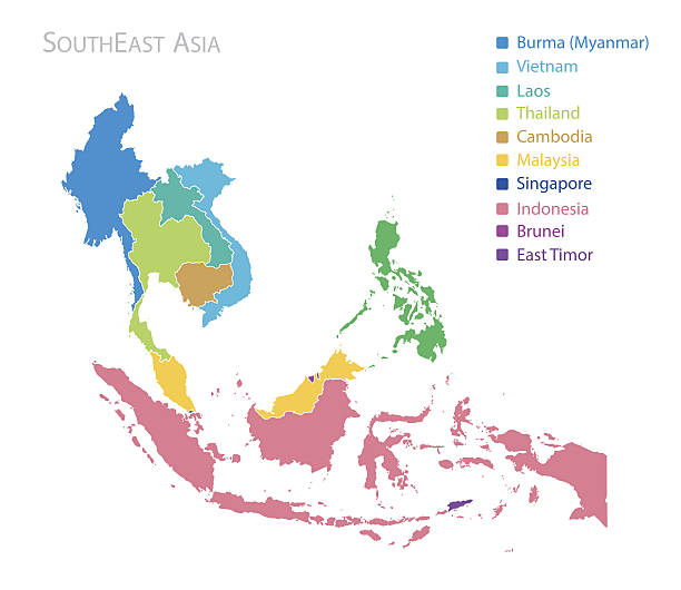 stockillustraties, clipart, cartoons en iconen met map of southeast asia - maleisië