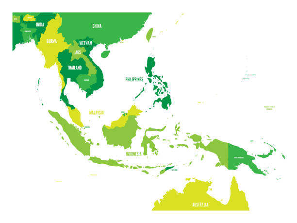 Map of Southeast Asia. Vector map in shades of green Map of Southeast Asia. Vector map in shades of green. indonesia stock illustrations