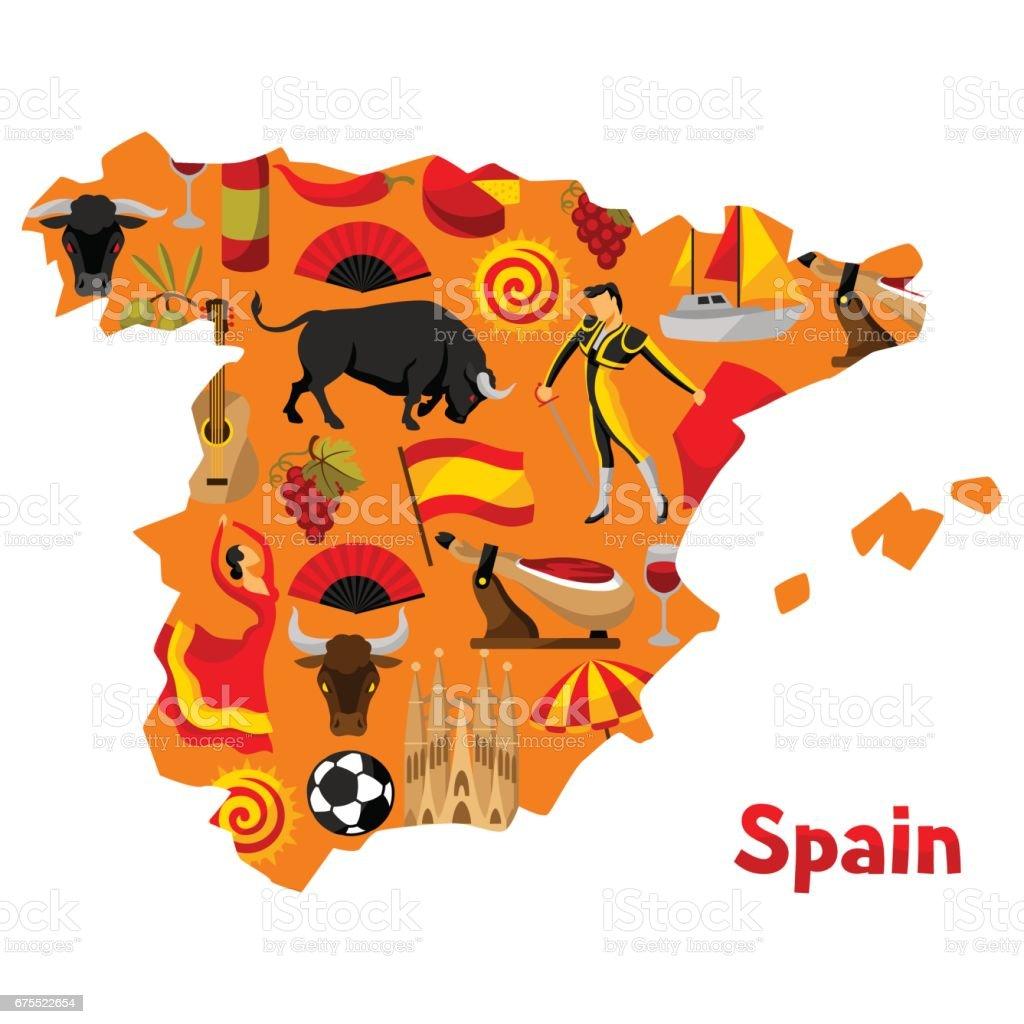 Map of spain background design spanish traditional symbols and map of spain background design spanish traditional symbols and objects royalty free map of buycottarizona Images