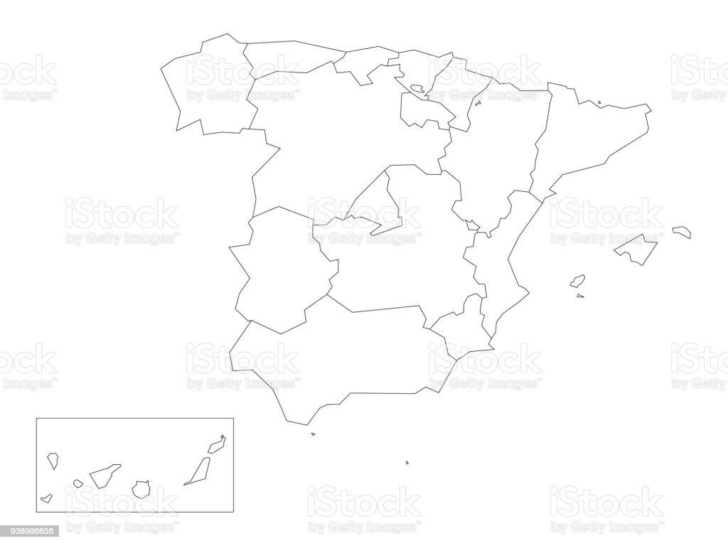 Mapa De Comunidades Autonomas En Blanco.Ilustracion De Mapa De Espana Dividido En 17 Comunidades