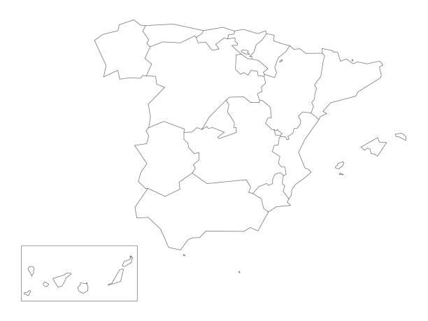 landkarte von spanien, 17 administrative autonomen gemeinden unterteilt. einfachen dünnen schwarzen umriss auf weißem hintergrund - spanien stock-grafiken, -clipart, -cartoons und -symbole