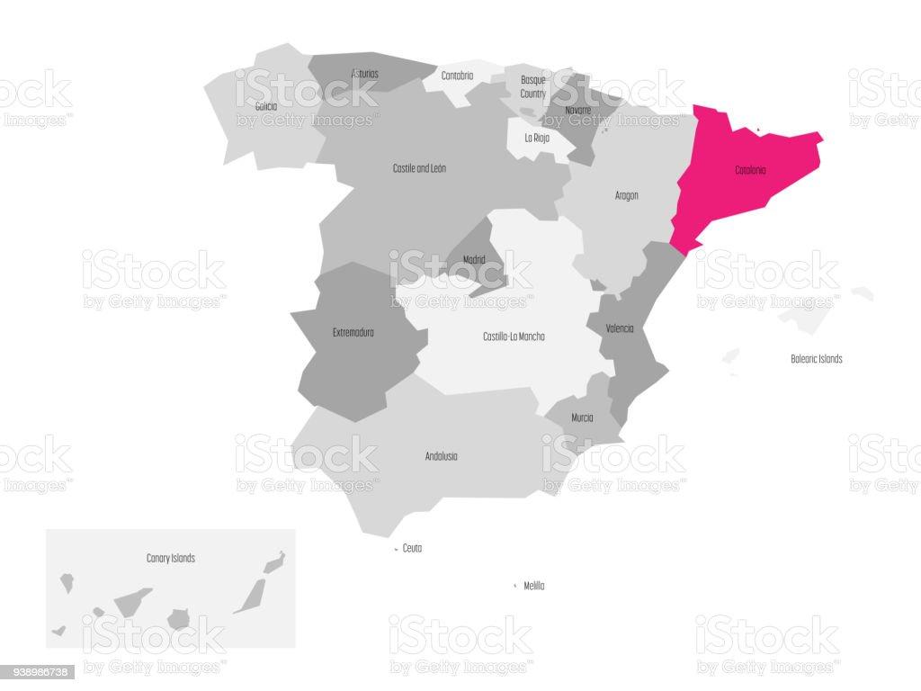Mapa España Comunidades Blanco.Ilustracion De Mapa De Espana Dividido En 17 Comunidades