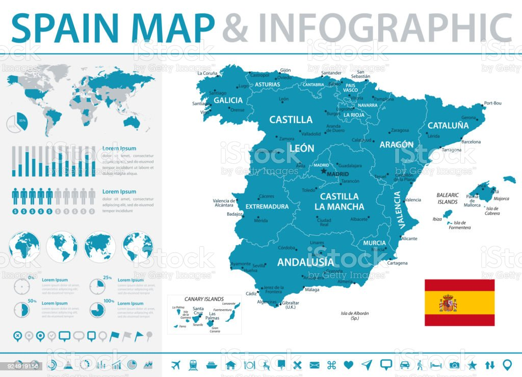 Map Of Spain Infographic Vector Stock Vector Art More Images of
