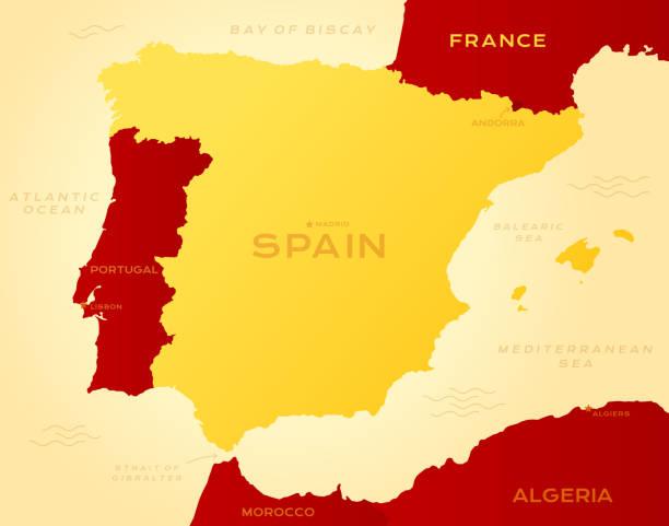 ilustrações de stock, clip art, desenhos animados e ícones de map of spain - portugal map