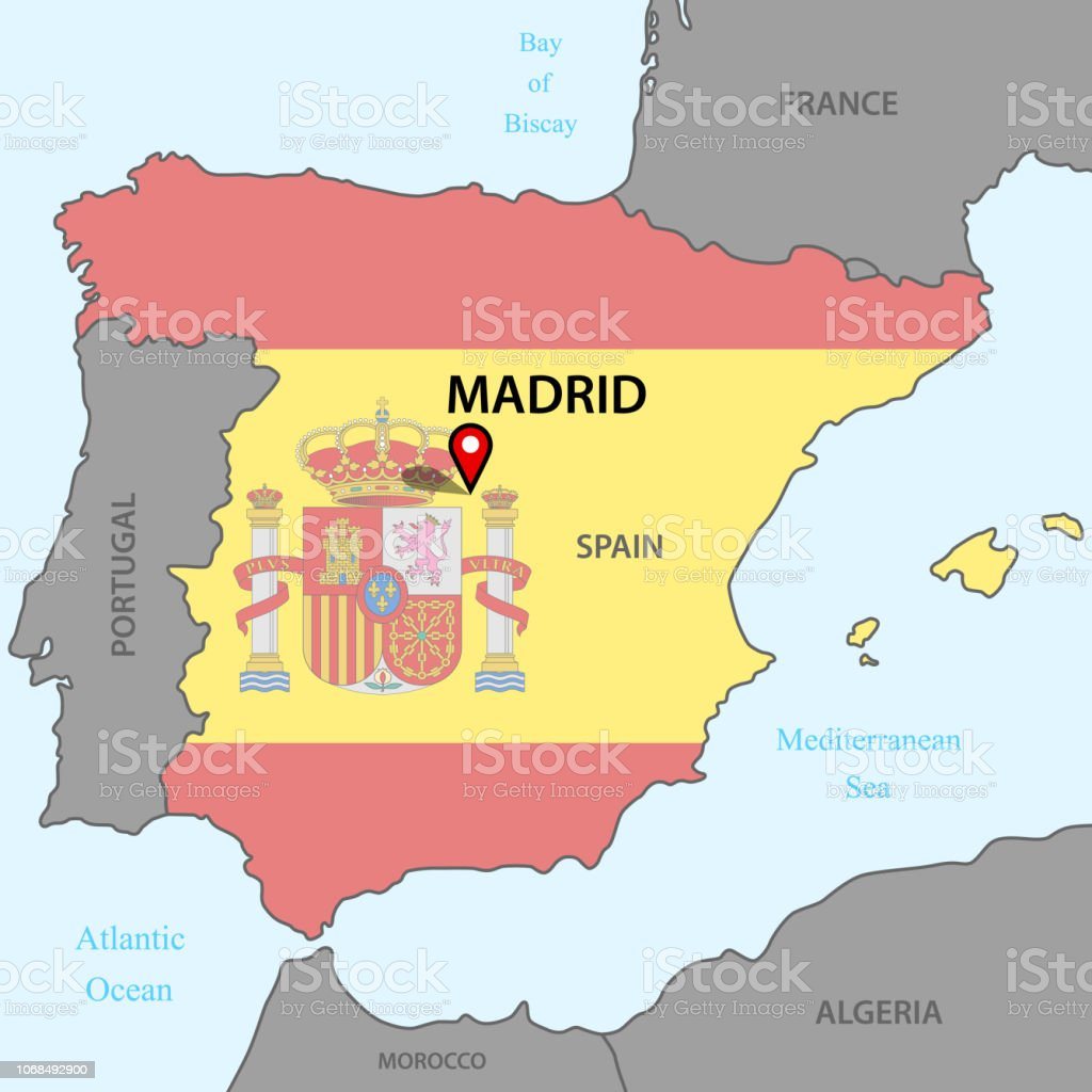 Karta Pa Spansk.Karta Over Spanien Stock Vector Art More Images Of Europe Istock